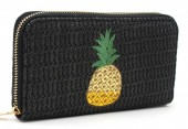 R-P3.1 WA319-002 Woven Wallet with Pineapple 19x10cm Black