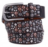 H-D20.1 FTG-060 PU with Leather Belt with Studs-Stars-Crystals 3.5x105cm Brown