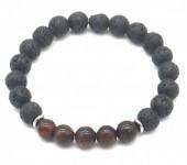 C-A19.4 B1639-017 Bracelet Lava Stone-Tigers Eye 8mm Black-Red