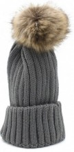 R-L4.2 HAT113-001 Beanie with Fake Fur Pompon Grey