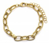 A-E10.1  B2126-003G S. Steel 7mm Chain Bracelet Gold
