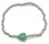 D-C17.1 B2142-004C S. Steel Elastic Bracelet Green Adventurine