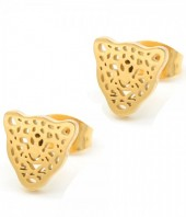 A-A23.1  E1842-010G Stainless Steel Studs Leopard 10mm Gold