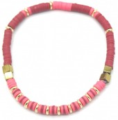 E-E19.4  B1941-001F Surf Bracelet with Metal Beads Pink-Bordeaux