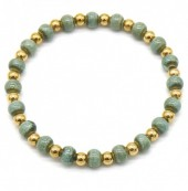 A-A20.4 B2146-014G-B S. Steel with Ceramic Beads Bracelet Green-Gold